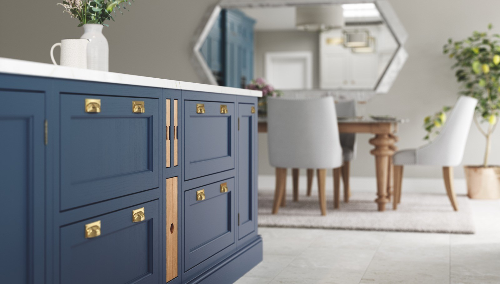 Belgravia kitchen in Parisian Blue and Stone