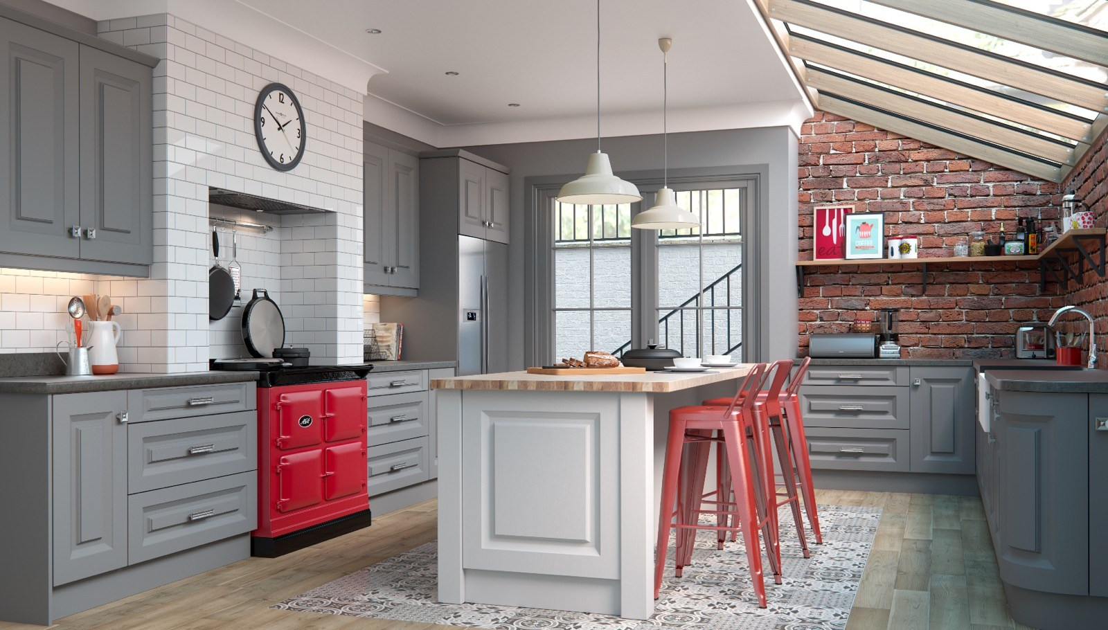 Red stools in modern kitchen with red Aga stove